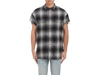 R 13 R13 Men's Checked Cotton Silk Oversized Distressed Shirt Grey
