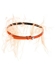 Emilio Pucci Feather Trim Belt Yellow And Orange