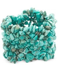 Macy's Manufactured Turquoise Stone Chip Wide Bracelet In Sterling Silver