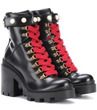 Gucci Embellished Leather Ankle Boots Black