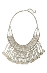 Junior Women's Stephan And Co. Bead Fringe Collar Statement Necklace Burnished Silver