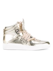 Dolce And Gabbana Metallic Leather High Top Sneakers