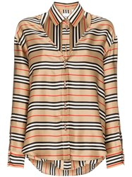 Burberry Double Layer Striped Shirt Neutrals