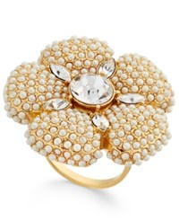 Kate Spade New York Gold Tone Imitation Pearl And Crystal Flower Statement Ring