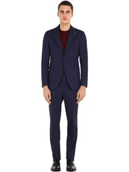 Tagliatore Stretch Cotton Gabardine Suit Navy