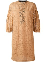 Nude Three Quarter Sleeve Lace Dress Women Cotton Polyester 40 Nude Neutrals