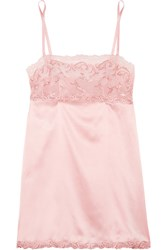 La Perla Secret Story Leavers Lace Trimmed Stretch Silk Blend Satin Chemise Pastel Pink