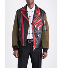 Dsquared2 Kiodo Leather And Shell Jacket Blk Green Red