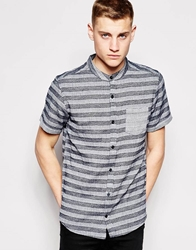 Another Influence Short Sleeve Shirt In Blanket Stripe Navy