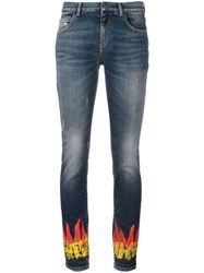 Faith Connexion Flame Print Skinny Jeans Blue