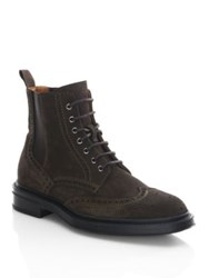 Aquatalia By Marvin K Lawrence Suede Wingtip Boots Dark Brown
