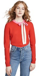 Chinti And Parker Cashmere Tie Neck Sweater Bright Red Peony Cream