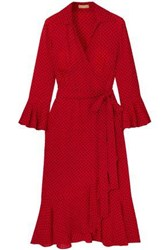 Michael Kors Collection Woman Ruffled Polka Dot Silk Crepe De Chine Midi Wrap Dress Tomato Red