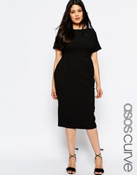 Asos Curve Midi Wiggle Dress In Texture Black
