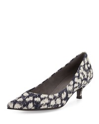 Stuart Weitzman Poco Galaxy Denim Kitten Heel Pump Navy Silver Women's