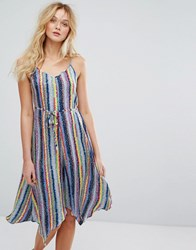 Warehouse Multi Stripe Tie Waist Hanky Hem Cami Dress Multi