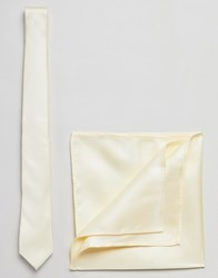 New Look Wedding Tie And Pocket Square In Yellow Light Yellow
