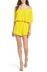 Show Me Your Mumu Women's Rosarita Off The Shoulder Romper Daffodil Chiffon