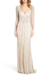Mac Duggal Sequin Gown Platinum Nude