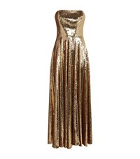 La Mania Strapless Sequin Gown Gold