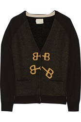 Band Of Outsiders Intarsia Silk And Cashmere Blend Cardigan Black
