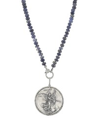 Sheryl Lowe Knotted Iolite And Angel Coin Pendant Necklace
