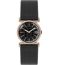Orla Kiely Ok2048 Cecilia Leather And Stainless Steel Watch Black