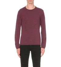The Kooples Skull Embroidered Wool Jumper Pink