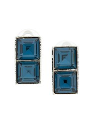 Christian Dior Vintage 90'S Square Earrings Blue