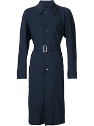 E. Tautz Belted Trench Coat Blue