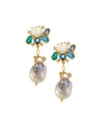 Indulgems Cluster Gemstone And Baroque Pearl Earrings Women's