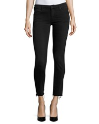 Mother Looker Ankle Skinny Jeans With Frayed Hem Blackbird