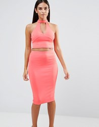 Ax Paris Choker Neck V Neck Crop Top Coral Pink