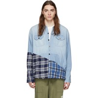 Greg Lauren Blue 50 50 Chambray Plaid Studio Shirt