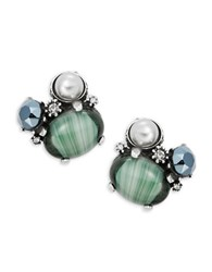 Gerard Yosca Gemstudded Faux Pearl Clip On Earrings Jade