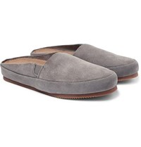 Mulo Suede Backless Loafers Light Gray