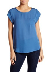 Joie Crew Neck Silk Pocket Tee Blue
