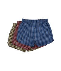 Lacoste Authentics Gingham Heather Woven Boxers Strong Blue Deep Sea Coral Mimosa Men's Underwear Multi