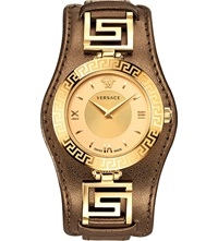Versace Vla040014 V Signature Leather And Rose Gold Toned Watch Bronze