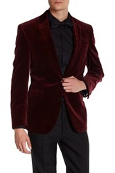Kenneth Cole Two Button Notch Lapel Velvet Wool Sport Coat Red
