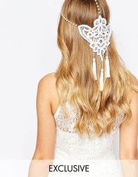 Olivia The Wolf Olivia And The Wolf Guipiur Lace Pearl Chain Tasseled Halo Headband Cream