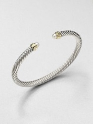 David Yurman Pearl Sterling Silver And 14K Gold Bangle Bracelet
