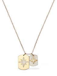 Apm Monaco Two Paved Star Pendant Necklace Gold
