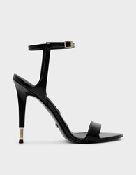 Charles And Keith Stiletto Leather Sandals Black