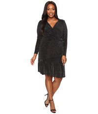 Michael Michael Kors Plus Size Long Sleeve Wrap Flounce Dress Black Women's Dress