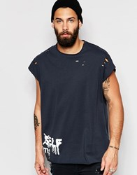 Asos Super Oversized T Shirt With Spray Text Print And Distressing Washed Black