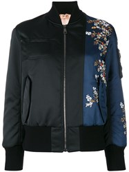 N 21 No21 Flower Embroidery Bomber Jacket Women Polyester Viscose 42 Black