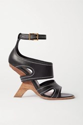 Alexander Mcqueen Topstitched Leather Sandals Black