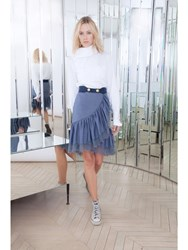 Alexis Mabille Flounced Skirt In Chambray With Lace Trim Blue