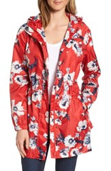 Joules Women's Right As Rain Packable Print Hooded Raincoat Red Posy